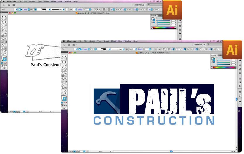 Before and After Construction Logo Design